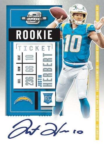 2020 Panini Contenders Optic Football NFL Cards Rookie Ticket RPS Autographs Justin Herbert RC