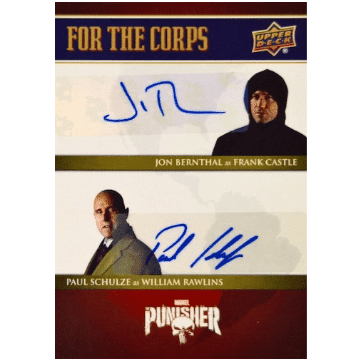 2020 Upper Deck The Punisher Season 1 Trading Cards For the Corps Dual Autographs Paul Schulze Jon Bernthal