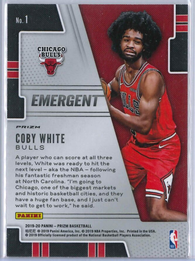 Coby White 2 Panini Prizm 2019 20 Emergent Rookie Silver 2 scaled