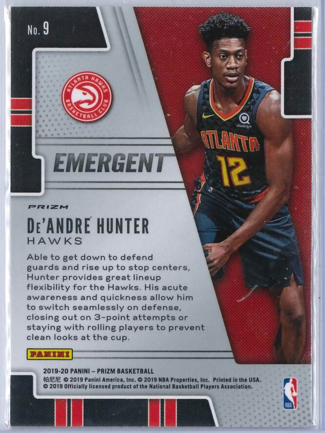 De Andre Hunter Panini Prizm 2019 20 Emergent Rookie Silver 2 scaled