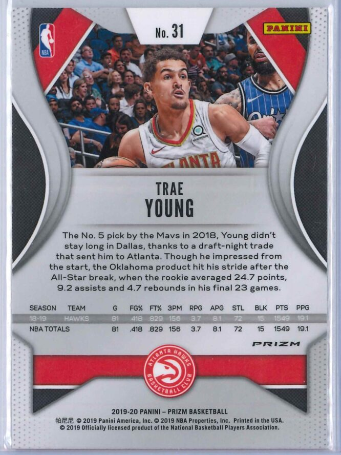 Trae Young 1 Panini Prizm 2019 20 Base 2nd Year Silver 2 scaled
