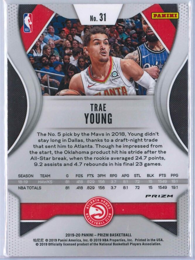 Trae Young 2 Panini Prizm 2019 20 Base 2nd Year Silver 2 scaled
