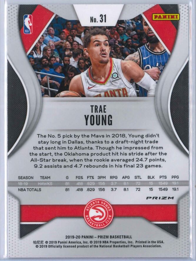 Trae Young 3 Panini Prizm 2019 20 Base 2nd Year Silver 2 scaled