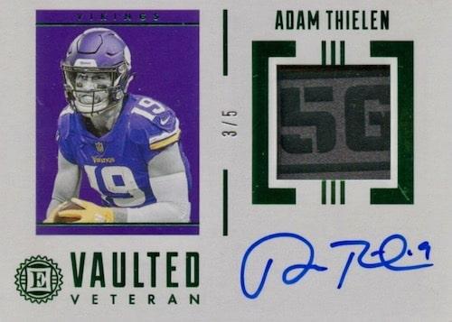 2019 Panini Encased Football Cards Vaulted Veteran Material Signatures Adam Thielen