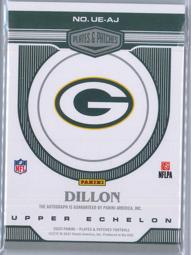 AJ Dillon Panini Plates and Patches 2020 Upper Echelon Rookie Auto 0630 2 scaled
