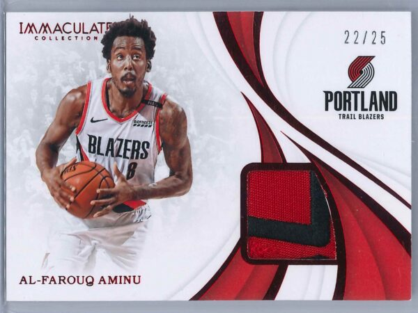 Al Farouq Aminu Panini Immaculate 2018 19 Swatches Red 2225 2 Color Patch 1 scaled