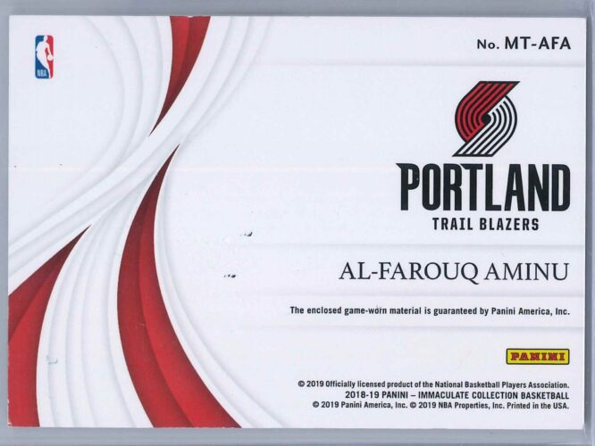 Al Farouq Aminu Panini Immaculate 2018 19 Swatches Red 2225 2 Color Patch 2 scaled