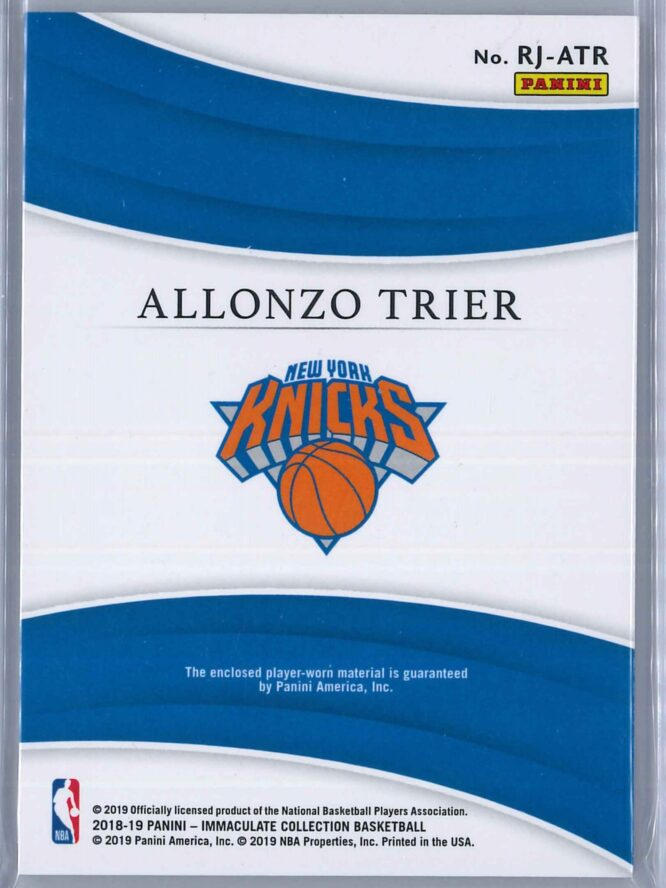 Alonzo Trier Panini Immaculate 2018 19 Remarkable 2299 Rookie Patch 2 scaled