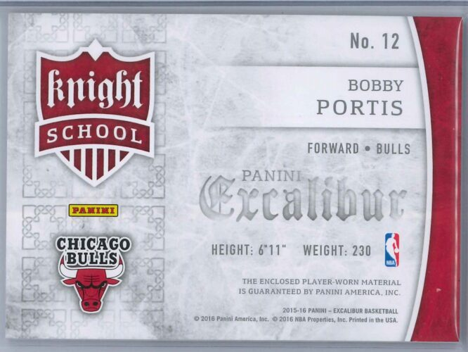 Bobby Portis Panini Excalibur 2015 16 Knight School RC Patch Rookie Patch 2 scaled