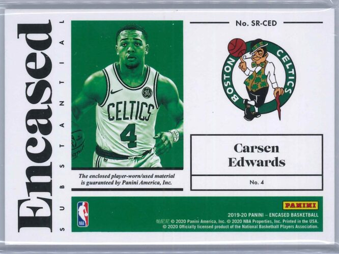 Carsen Edwards Panini Encased 2019 20 RC Patch Substantial Swatches 199199 2 scaled