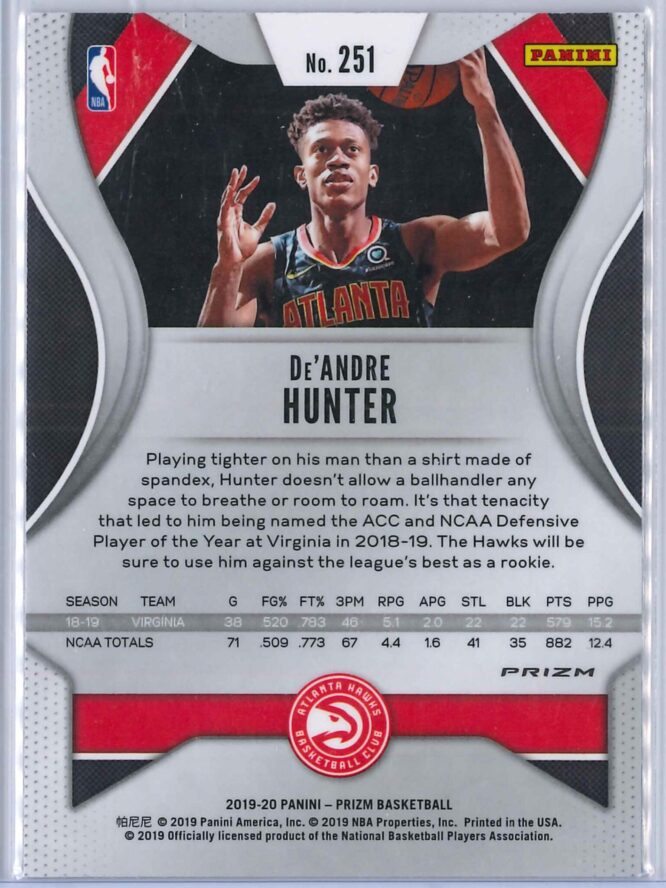 De Andre Hunter Panini Prizm 2019 20 Base RC Red White Blue 2 scaled