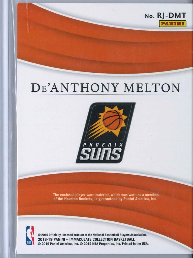 De Anthony Melton Panini Immaculate 2018 19 Remarkable 5599 Rookie Patch 2 scaled