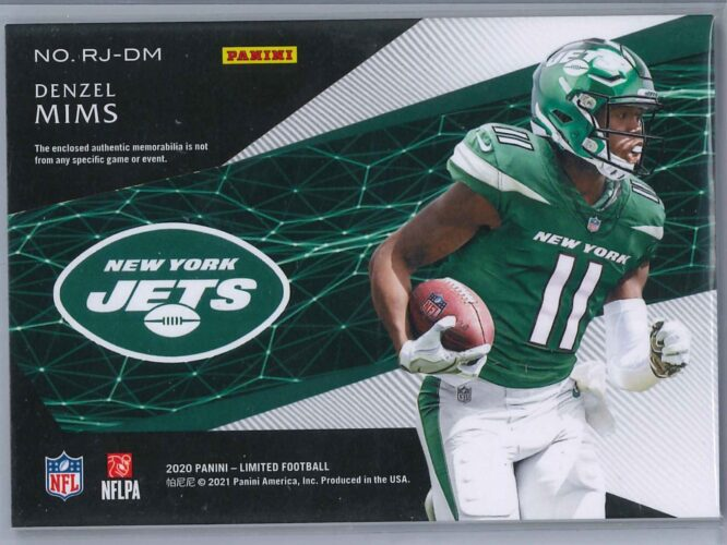 Denzel Mims Panini Limited 2020 Rookie Patch 138199 2 scaled