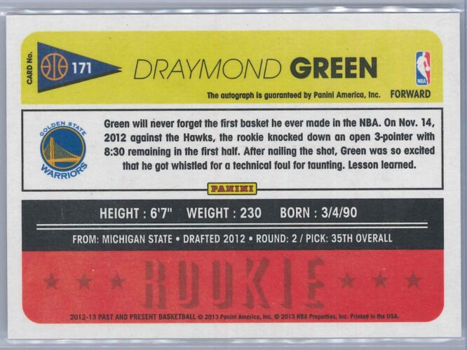 Draymond Green Panini Past and Present 2012 13 Rookie Auto 2 scaled
