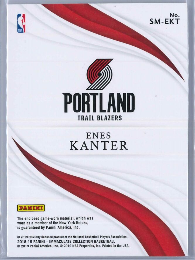 Enes Kanter Panini Immaculate 2018 19 Standout Red 0425 4 Color Patch 2 scaled