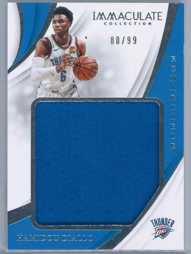 Hamidou Diallo Panini Immaculate 2018 19 Remarkable 8099 Rookie Patch 1 scaled
