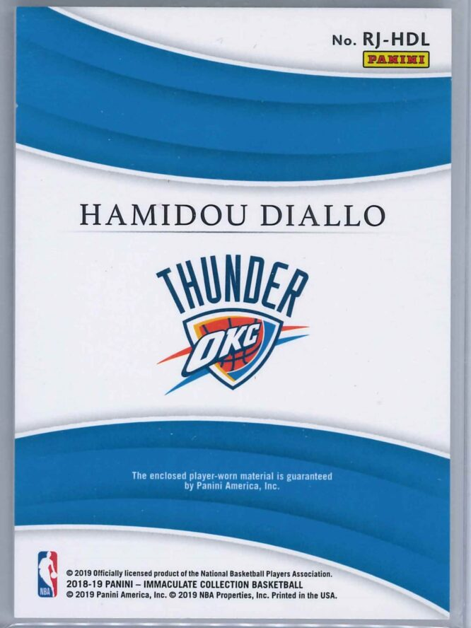 Hamidou Diallo Panini Immaculate 2018 19 Remarkable 8099 Rookie Patch 2 scaled