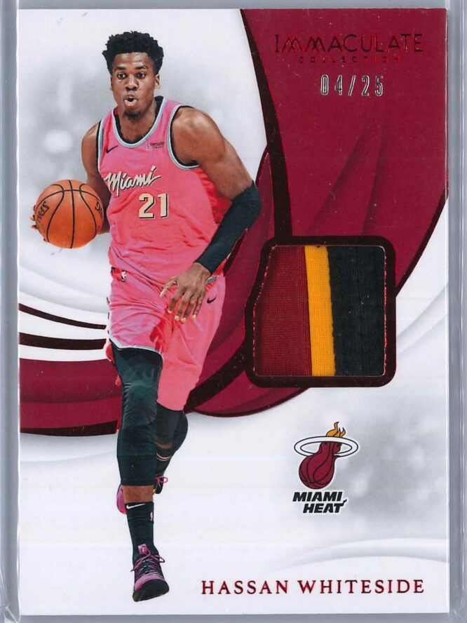 Hassan Whiteside Panini Immaculate 2018 19 Swatches Red 0425 3 Color Patch 1 scaled