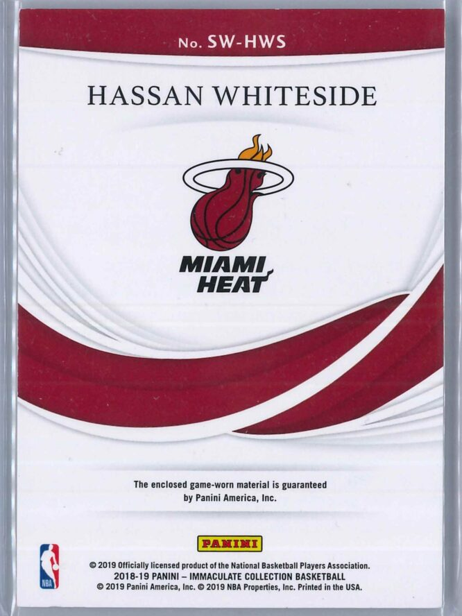 Hassan Whiteside Panini Immaculate 2018 19 Swatches Red 0425 3 Color Patch 2 scaled