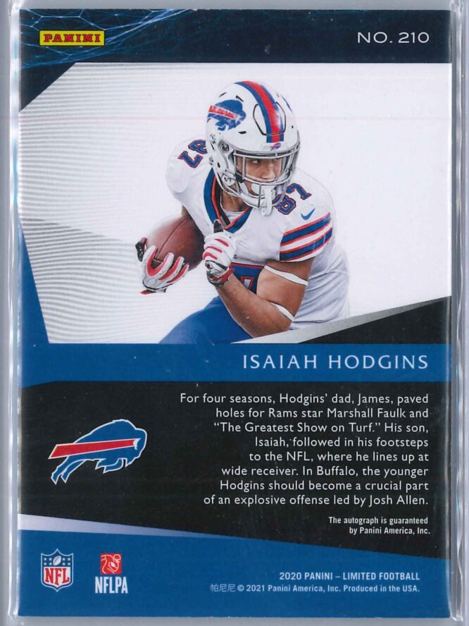 Isaiah Hodgins Panini Limited 2020 Rookie Auto 0399 2 scaled