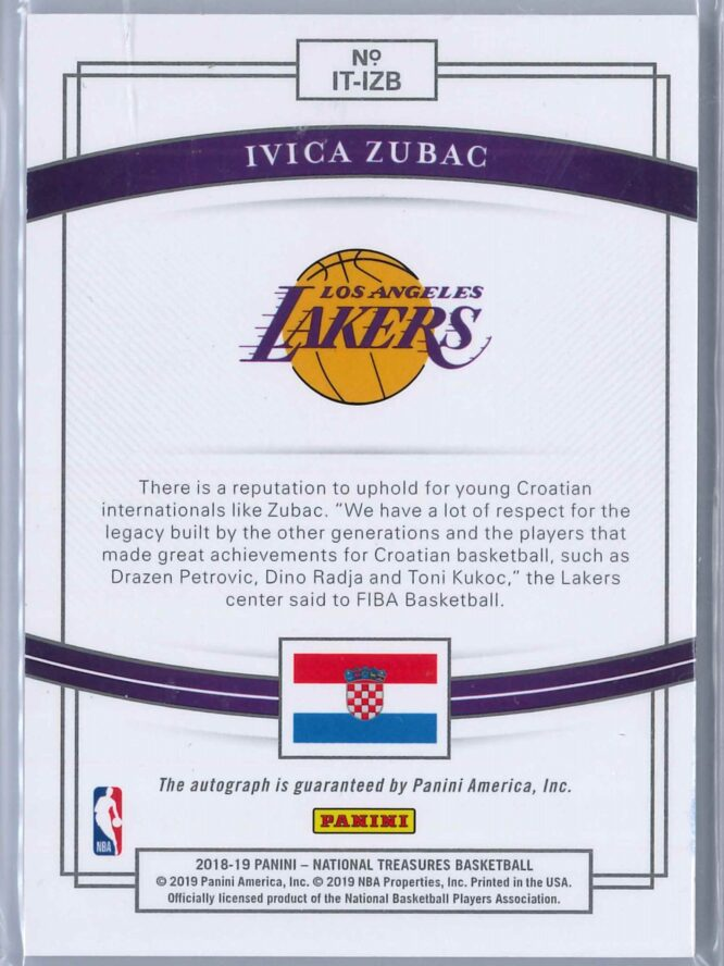 Ivica Zubac Panini National Treasures 2018 19 Auto International Treasures 9099 2 scaled