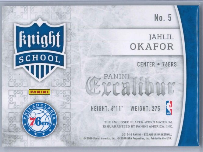 Jahlil Okafor Panini Excalibur 2015 16 Knight School RC Patch Rookie Patch 2 scaled