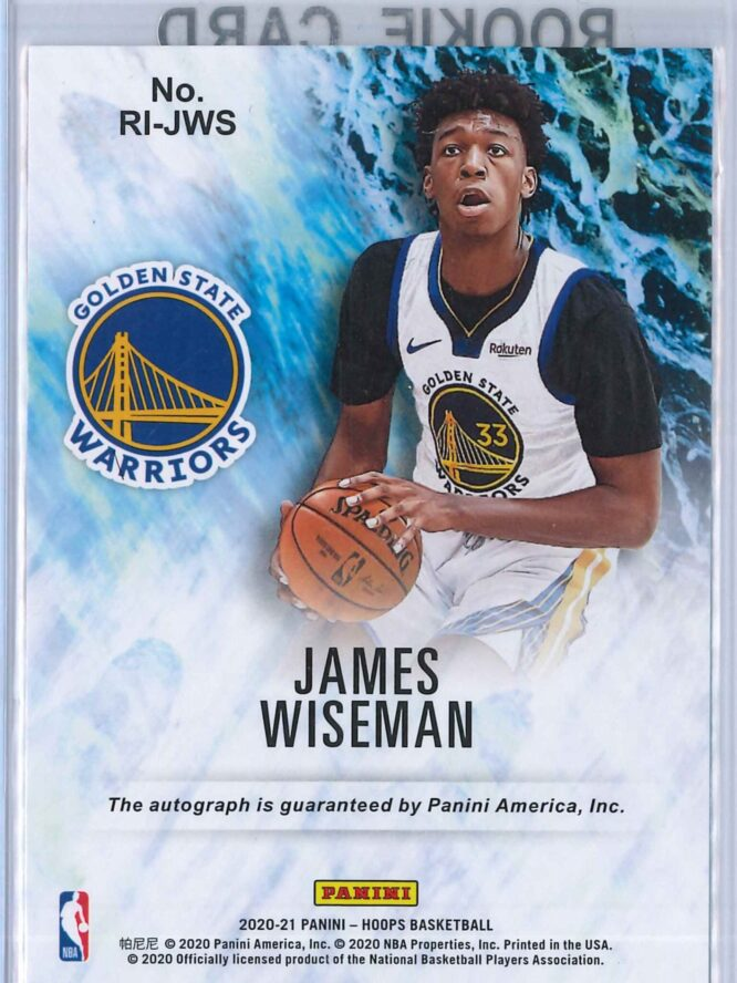 James Wiseman Panini Hoops 2020 21 Rookie Ink RC Auto 2 scaled