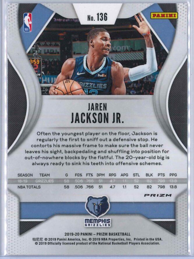 Jaren Jackson Jr. 1 Panini Prizm 2019 20 Base 2nd Year Silver 2 scaled