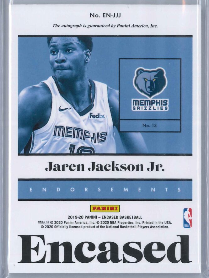 Jaren Jackson Jr. Panini Encased 2019 20 Auto Endorsements 1649 2 scaled