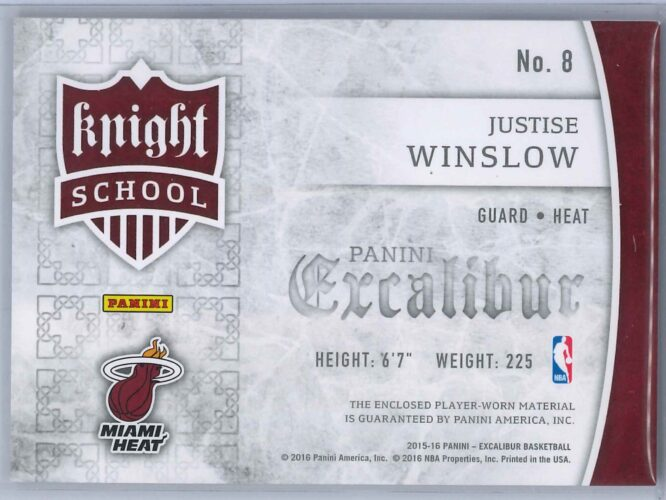 Justice Winslow Panini Excalibur 2015 16 Knight School RC Patch 2 scaled