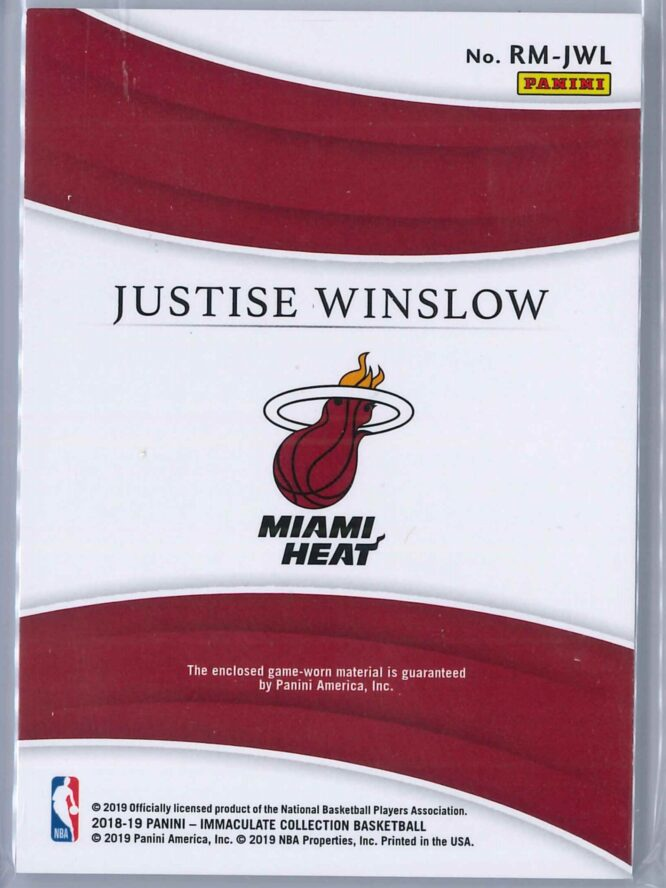 Justice Winslow Panini Immaculate 2018 19 Remarkable 4599 2 scaled