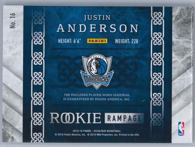 Justin Anderson Panini Excalibur 2015 16 Rookie Rampage 1049 Rookie Patch 2 scaled