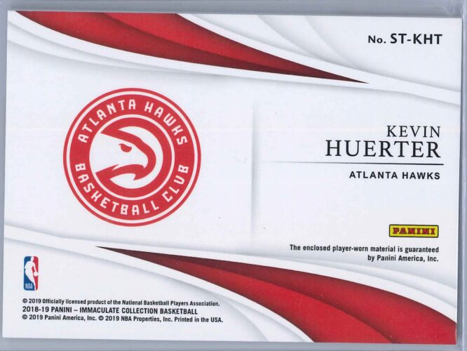 Kevin Huerter Panini Immaculate 2018 19 The Standard 3199 2 Color Rookie Patch 2 scaled