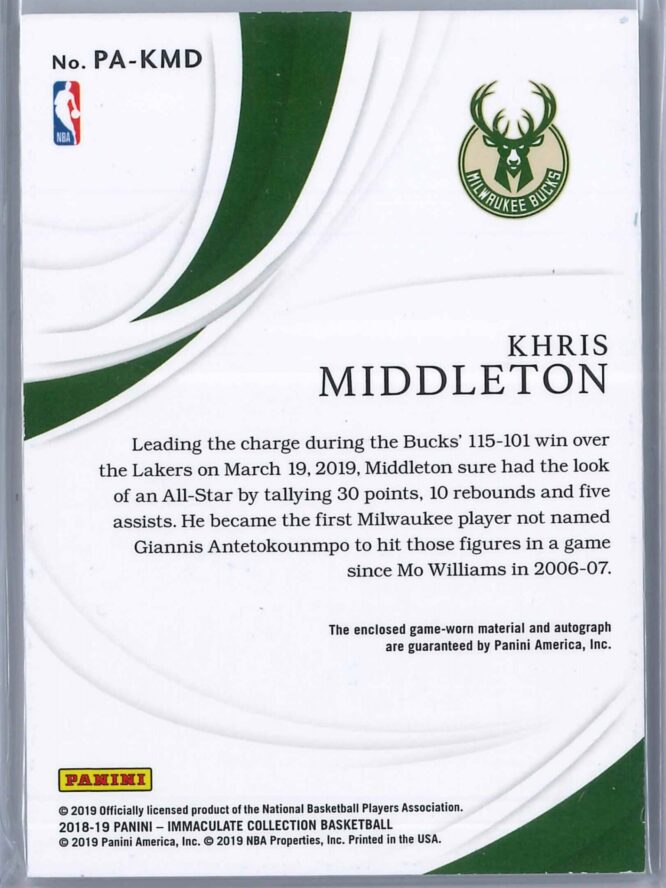 Khris Middleton Panini Immaculate 2018 19 Patch Autograph 5360 3 Color Patch 2 scaled
