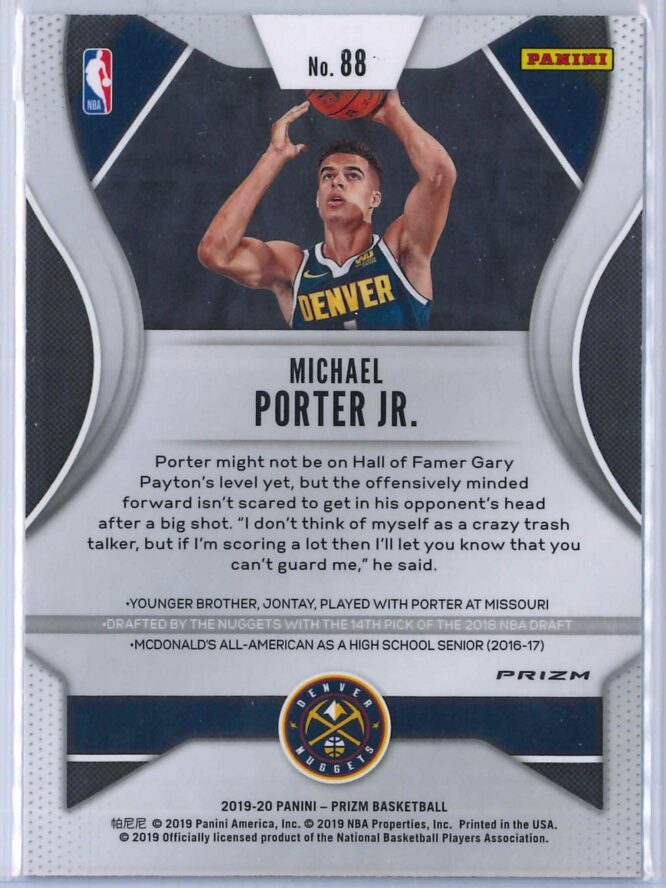 Michael Porter Jr. 1 Panini Prizm 2019 20 Base 2nd Year Red White Blue 2 scaled