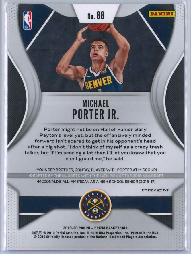Michael Porter Jr. 2 Panini Prizm 2019 20 Base 2nd Year Red White Blue 2 scaled