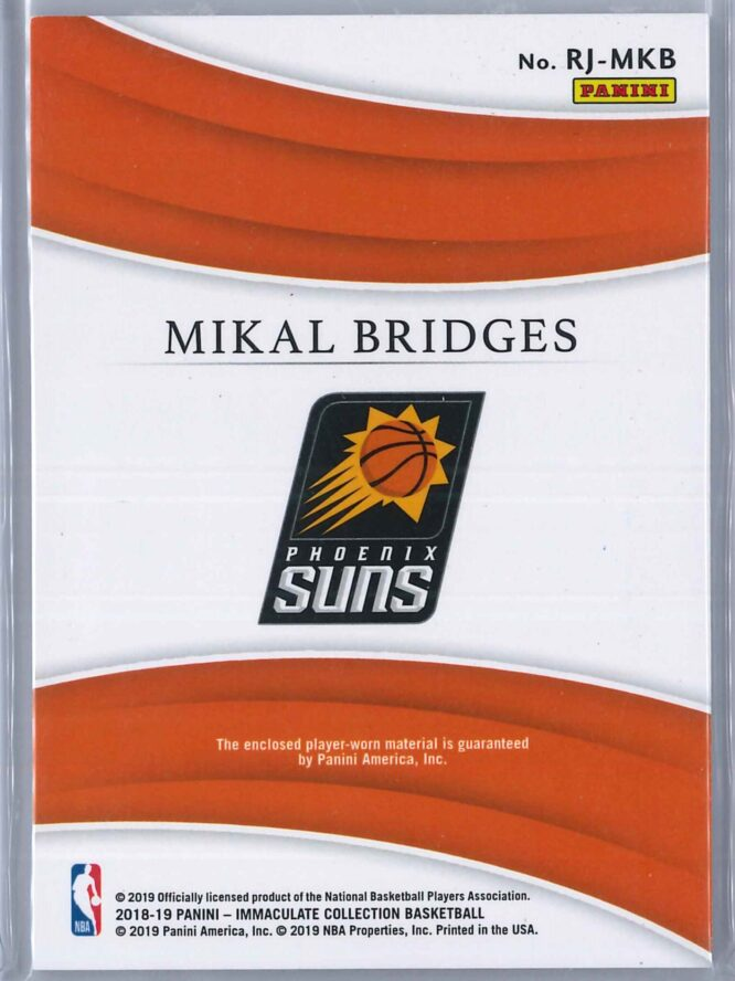 Mikal Bridges Panini Immaculate 2018 19 Remarkable 9699 Rookie Patch 2 scaled