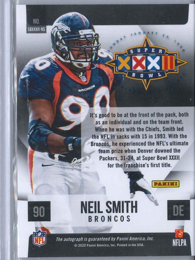 Neil Smith Panini Limited 2020 Auto Holo Super Bowl 2 scaled