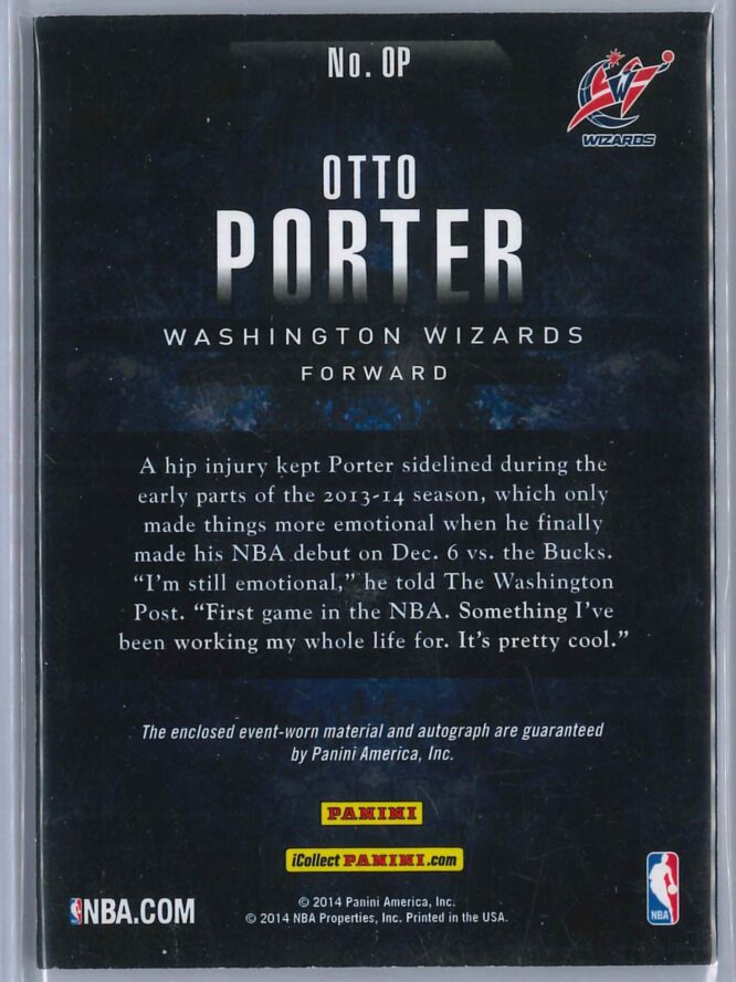 Otto Porter Jr. Panini Basketball 2013 14 RC Patch Auto 2 scaled