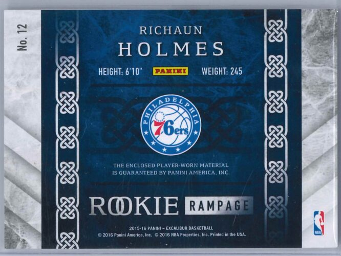 Rishaun Holmes Panini Excalibur 2015 16 Rookie Rampage 3049 Rookie Patch 2 scaled