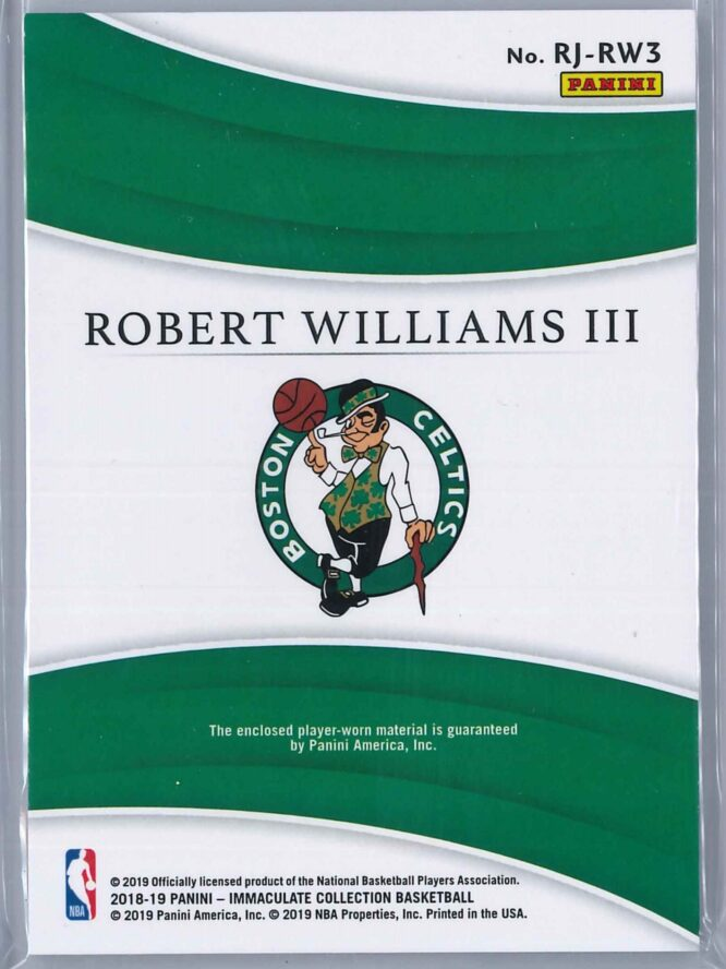 Robert Williams Panini Immaculate 2018 19 Remarkable 4999 Rookie Patch 2 scaled