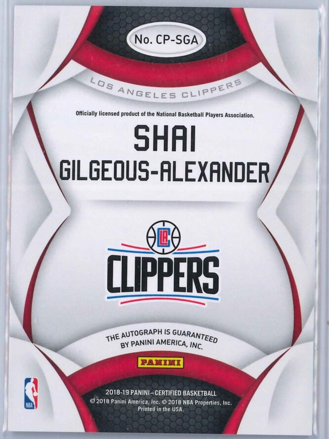 Shai Gilgeous Alexander Panini Certified 2018 19 Rookie Auto Certified Potential 2 scaled