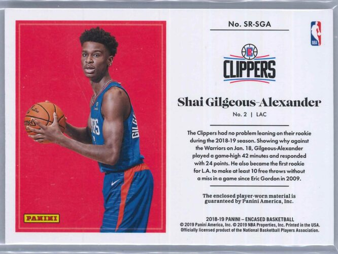 Shai Gilgeous Alexander Panini Encased 2018 19 Patch Substantial Rookie Swatches 8399 2 scaled