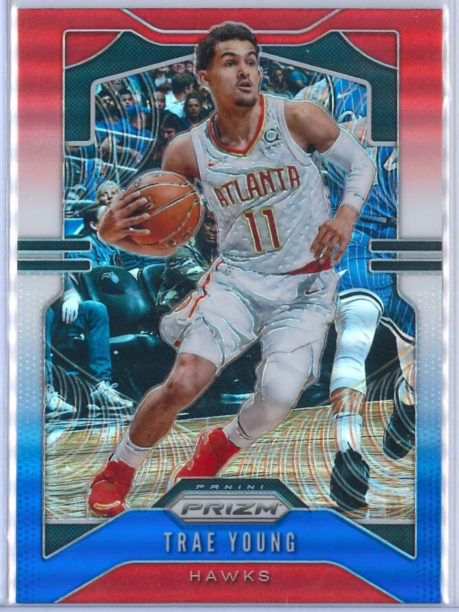 Trae Young 1 Panini Prizm 2019 20 Base 2nd Year Red White Blue 1 scaled