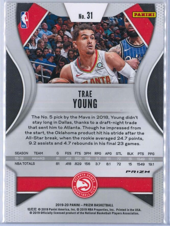 Trae Young 1 Panini Prizm 2019 20 Base 2nd Year Red White Blue 2 scaled