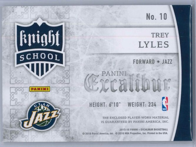 Trey Lyles Panini Excalibur 2015 16 Knight School RC Patch Rookie Patch 2 scaled