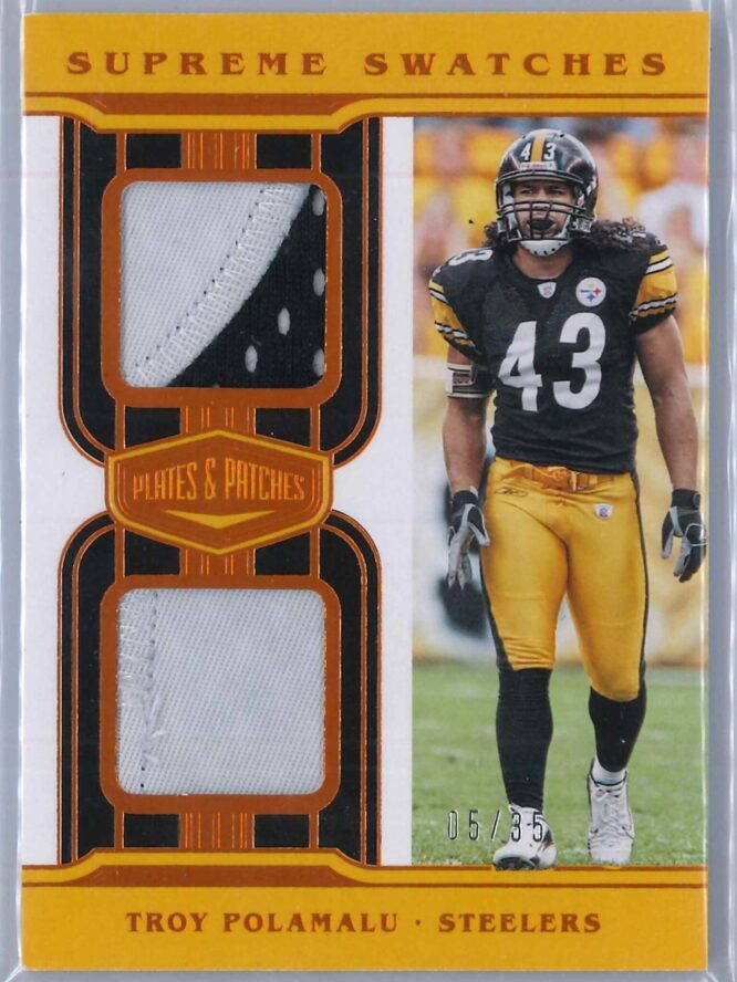 Troy Polamalu Panini Plates and Patches 2020 Supreme Swatches 0535 2 Color Patch 1 scaled