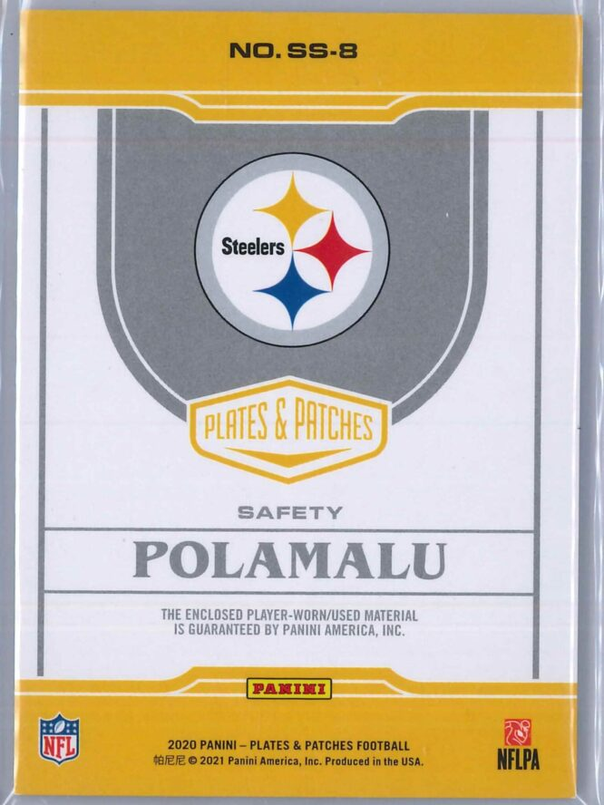 Troy Polamalu Panini Plates and Patches 2020 Supreme Swatches 0535 2 Color Patch 2 scaled