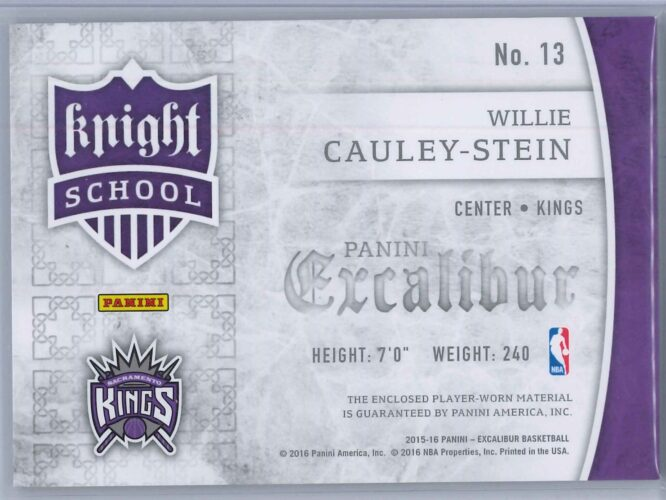 Willie Cauley Stein Panini Excalibur 2015 16 Knight School RC Patch Rookie Patch 2 scaled