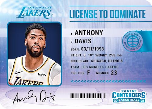 2020 21 Panini Contenders Basketball NBA Cards License to Dominate Anthony Davis 1